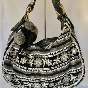 Isabella Fiore Knit Leather mix pompon Hobo